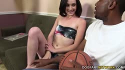 Karina Lynne fucks with a black dude while her dad watches