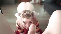 BABY GLASSES KITTY NEKO GAGING AND SUCK DADDY POV