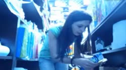 Girl in store backroom playing with herself on cam